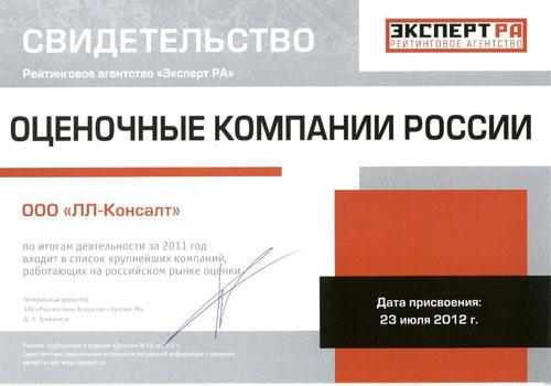 РАЭКС - Рэнкинг крупнейших оценочных компании России - 2011