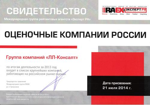 РАЭКС - Рэнкинг крупнейших оценочных компании России - 2013