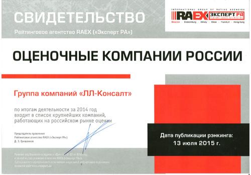 РАЭКС - Рэнкинг крупнейших оценочных компании России - 2014