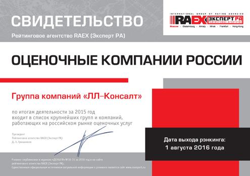 РАЭКС - Рэнкинг крупнейших оценочных компании России - 2015