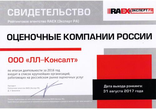 РАЭКС - Рэнкинг крупнейших оценочных компании России - 2016