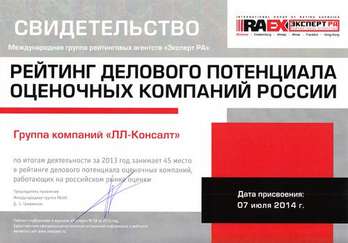 РАЭКС - Рэнкинг делового потенциала российских оценочных компаний - 2013