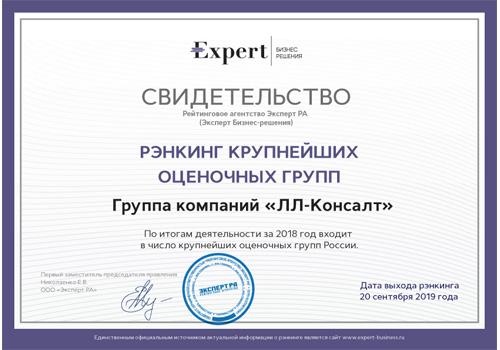 Рэнкинг крупнейших оценочных групп России - 2018