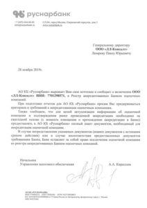 Аккредитация Руснарбанк