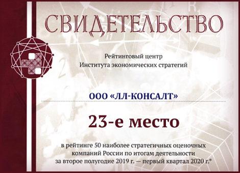 Оценочная компания - 23 место